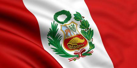 bandera peru: 3d prestados y agitando bandera de per�