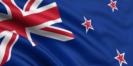 bandera de nueva zelanda: 3d prestados y agitando pabell�n de Nueva Zelanda