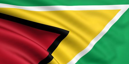 3d rendered and waving flag of guyana photo