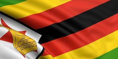 zimbabwe: 3d rendered and waving flag of zimbabwe