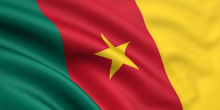 cameroonian: 3d rendered and waving flag of cameroon