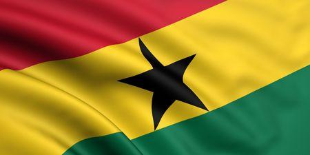 ghana: 3d rendered and waving flag of ghana