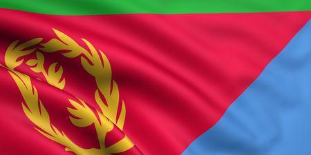 eritrea: 3d rendered and waving flag of eritrea Stock Photo