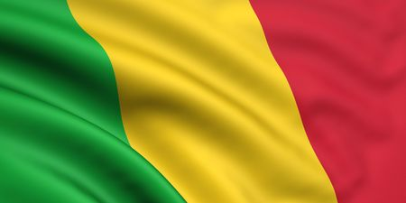 Mali: 3d rendered and waving flag of mali