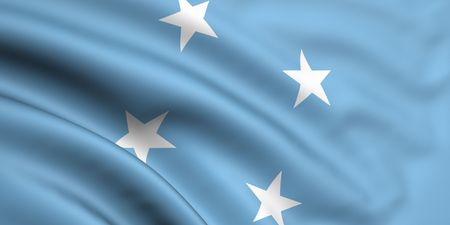 micronesia: 3d rendered and waving flag of micronesia