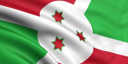 burundi: 3d rendered and waving flag of burundi