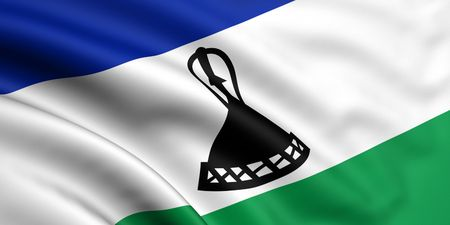 lesotho: 3d rendered and waving flag of lesotho Stock Photo