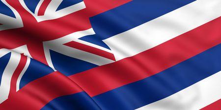 hawaii flag: 3d rendered and waving flag of hawaii