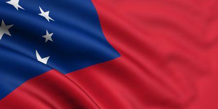 samoa: 3d rendered and waving flag of samoa