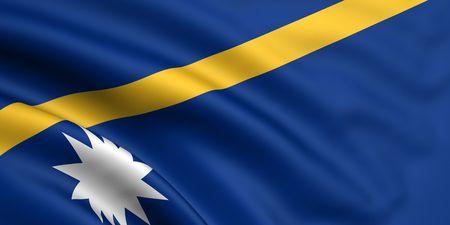 nauru: 3d rendered and waving flag of nauru