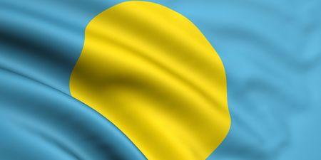 palau: 3d rendered and waving flag of palau Stock Photo