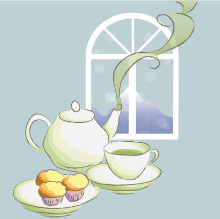 afternnon tea time  Vector