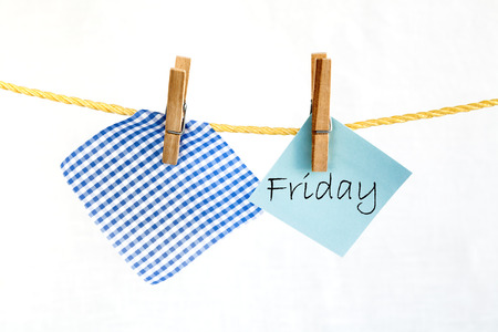 note paper: Note paper with the word friday Stock Photo