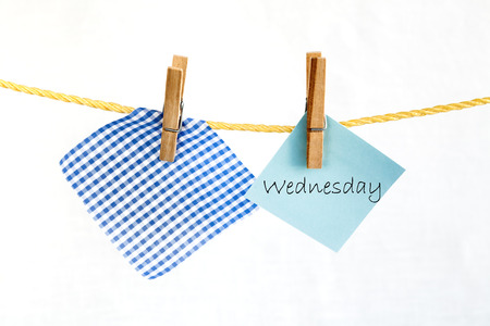 wednesday: Note paper with the word wednesday