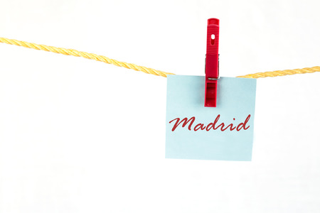 note paper: Note paper with the written word madrid Stock Photo