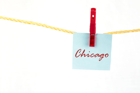 note paper: Note paper with the written word chicago