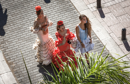 Typical costumes of flamenco in Spain