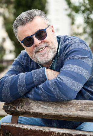 50 years old: Attractive man 50 years old with beard