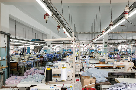 FEBRUARY 28.2015: TANGIER, MOROCCO: In the picture we can see one of the hundreds of industrial production chains preparation with all the machines that are in Morocco