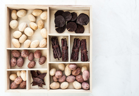 earthnut: Fruits of dry forest tucked in wooden box Stock Photo