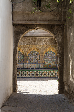 Streets and corners of doors and windows of Tangier in Morocco photo