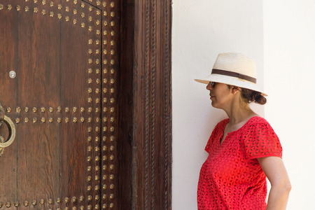 Beautiful woman in the streets and corners Tangier Morocco photo