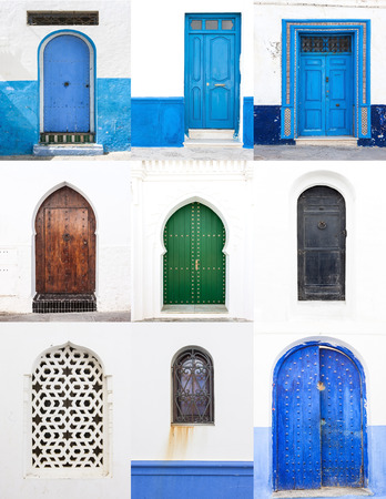 house with style: Streets and corners of doors and windows of Tangier in Morocco Stock Photo