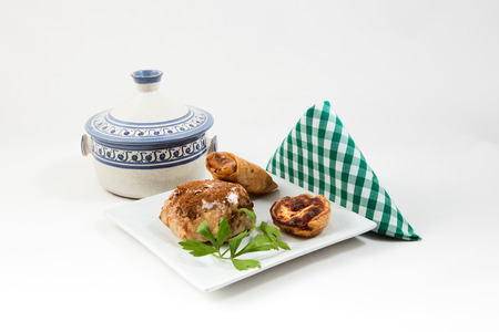 arabic food: Typical Moroccan and Arabic food on old wood isolated on white background Stock Photo