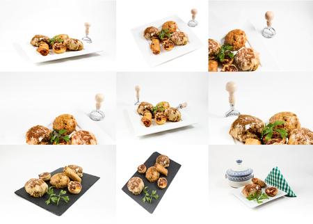comida arabe: Collage comida t�pica marroqu� y �rabe en la madera vieja aislada en el fondo blanco