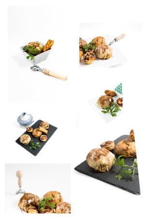arabic food: Collage comida t�pica marroqu� y �rabe en la madera vieja aislada en el fondo blanco