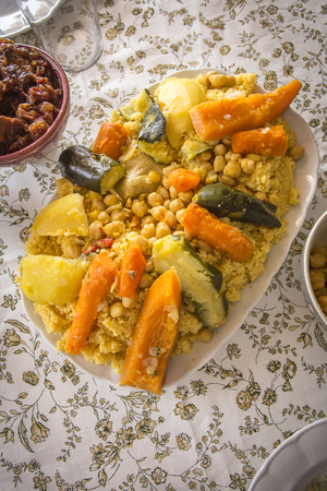arabic food: Typical Moroccan and Arabic food on old wood Stock Photo