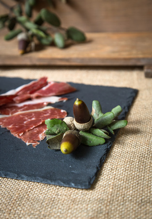 alleged: Ham on old  wooden board Stock Photo