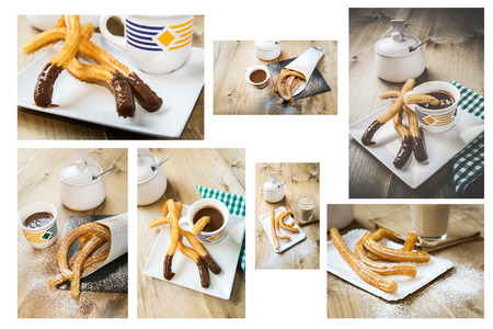churros: Collage Churros with hot chocolate and sugar on old wooden table