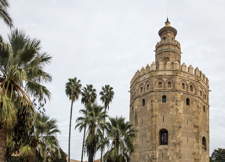 andalucia: Gold Tower in Seville Spain Andalucia near the river Guadalquivir Stock Photo