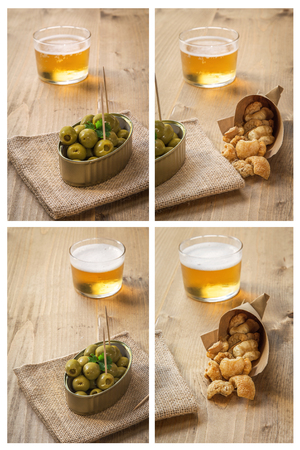 rinds: Collage Beer cap pork rinds and olives on old wooden table