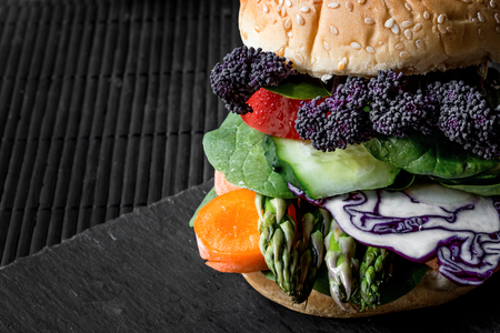 Vegan burger with fresh and healthy vegetables
