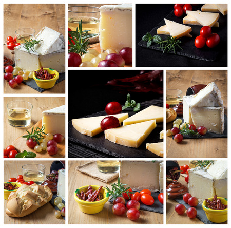 intense flavor: Collage toTypical Spanish cheese with wine, grapes and cherry tomatoes on old wooden table