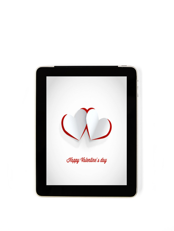 detail internet computer: Tablet concept Valentines Day signs: signs of Valentines Day on the screen of a tablet