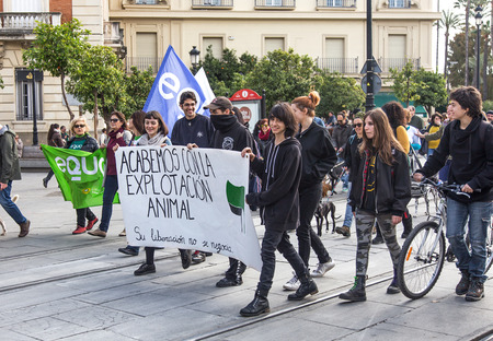suffered: February 7,2016- Sevilla, Spain: In the picture we can see a demonstration of animal party through the streets of Seville
