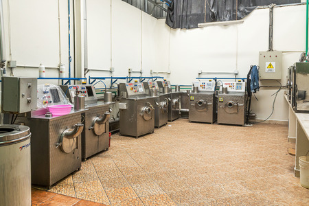 launderette: Tangier, Morocco-April 18,2016:In the picture we can see an industrial laundry with washing machine, dryers, laboratory and boilers.