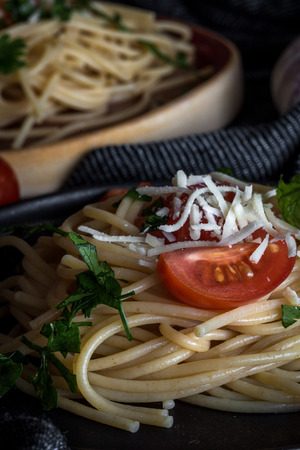 Spaguetti with tomato cheese and oregano, typical italian pasta