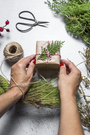 enveloping: Young woman holding gift box. Christmas days, preparing the decoration Stock Photo
