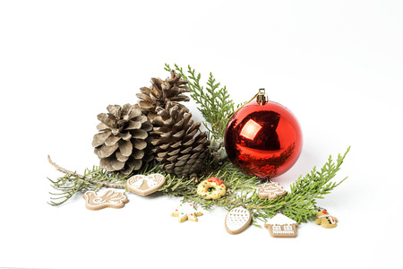 Christmas ornaments on white background.