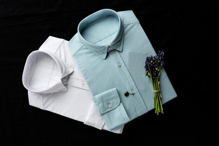 Mens fashion shirts. Clothing details.From above Stock Photo