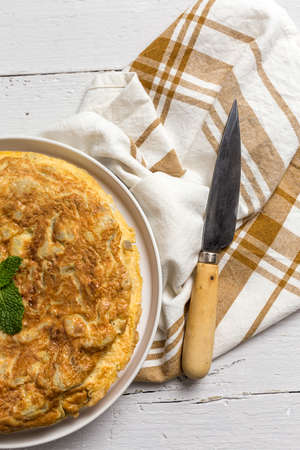 Delicious potato omelet Typical Spanish