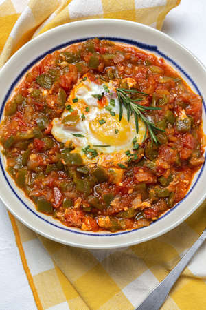 Vegetable dish pisto manchego made of tomatoes, zucchini, peppers, onions with fried egg. Typical Spanish food