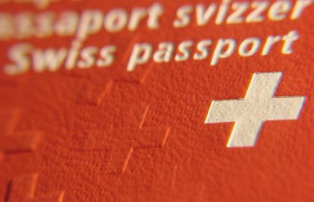 schriftzug: swiss passport flag swizerland pass Stock Photo