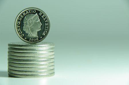 helvetia: macro shot swiss francs twenty