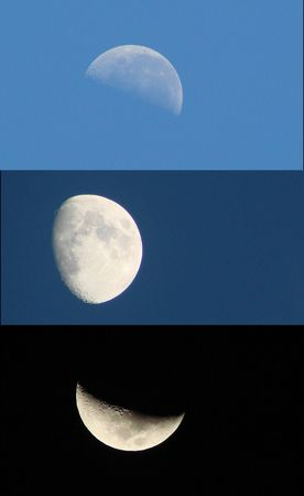 half ball: moon moons during day and night diffrent stades