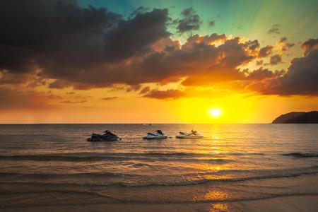 jetski: Jetski sunset at the beach